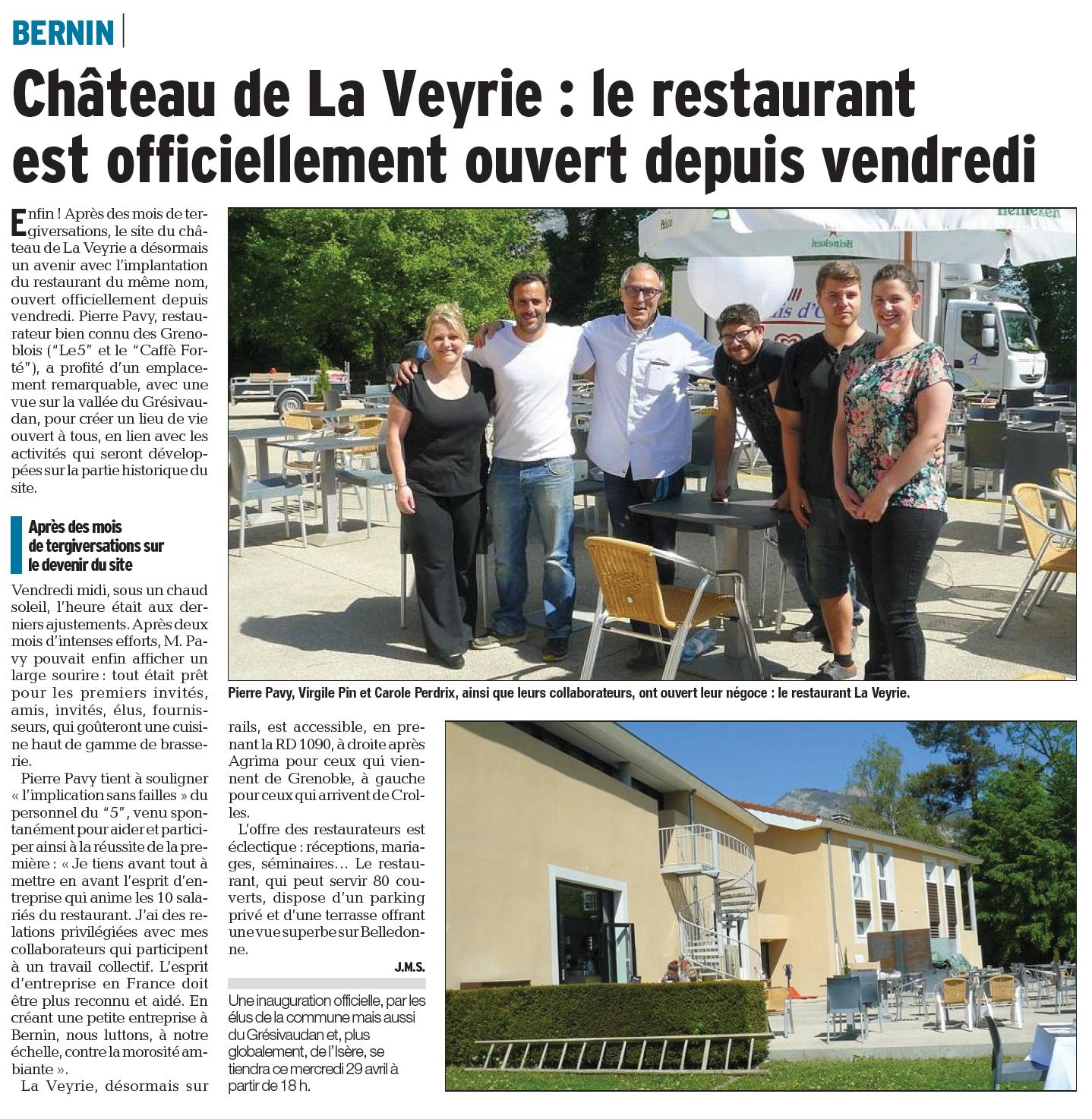 Ouverture restaurant ch 226 teau de la veyrie